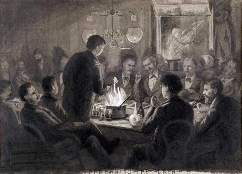 1875 - Preparing the Punch, Latin Quarter Sketch Club, grisaille watercolor