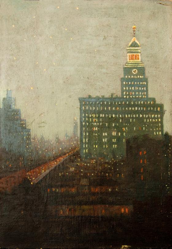 New York City scene, ca 1910, oil on panel
